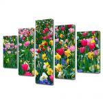 Set Tablouri Multicanvas 5 Piese Peisaj Flori inghesuite