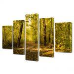 Set Tablouri Multicanvas 5 Piese Peisaj Vine toamna