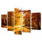 Set Tablouri Canvas 5 Piese Peisaj Drum tomnatic