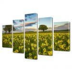 Set Tablouri Multicanvas 5 Piese Peisaj Flori si copaci