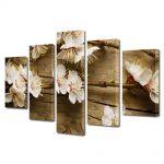 Set Tablouri Multicanvas 5 Piese Peisaj Flori albicioase