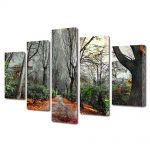 Set Tablouri Multicanvas 5 Piese Peisaj Drum rosu