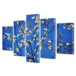 Set Tablouri Multicanvas 5 Piese Peisaj Flori cu albastru intens