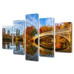 Set Tablouri Multicanvas 5 Piese Peisaj Pod peste toamna