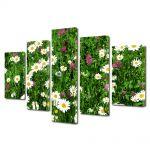 Set Tablouri Canvas 5 Piese Peisaj Flori diverse