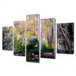 Set Tablouri Canvas 5 Piese Peisaj Gradina botanica