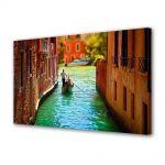 Tablou Canvas Luminos in intuneric VarioView LED Urban Orase Pe canal in Venetia