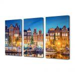 Set Tablouri Multicanvas 3 Piese Lumini in Amsterdam