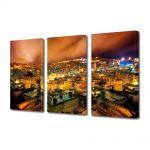 Set Tablouri Multicanvas 3 Piese Noaptea peste oras