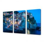 Set Tablouri Multicanvas 3 Piese Oras pe coasta Italiei