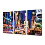 Set Tablouri Multicanvas 3 Piese Noaptea prin New york