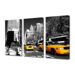 Set Tablouri Multicanvas 3 Piese Taxi in New York