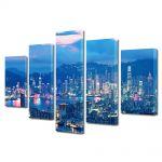 Set Tablouri Multicanvas 5 Piese Lumini in Hong Kong