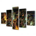 Set Tablouri Multicanvas 5 Piese Turnurile Petronnas in Kuala Lumpur
