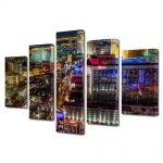 Set Tablouri Multicanvas 5 Piese Nordul Las Vegas ului