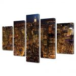 Set Tablouri Multicanvas 5 Piese Viata de noapte in New York
