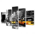 Set Tablouri Multicanvas 5 Piese Taxi in New York