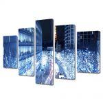 Set Tablouri Multicanvas 5 Piese Lumini albastre in Tokyo