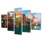 Set Tablouri Multicanvas 5 Piese Orasul Bruges in Belgia