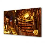 Tablou Canvas Luminos in intuneric VarioView LED Vintage Aspect Retro Biblioteca veche