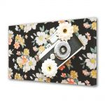 Tablou Canvas Luminos in intuneric VarioView LED Vintage Aspect Retro Camera foto si flori retro