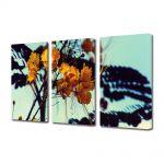 Set Tablouri Muilticanvas 3 Piese Vintage Aspect Retro Flori galbene