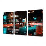 Set Tablouri Muilticanvas 3 Piese Vintage Aspect Retro Orasul neon