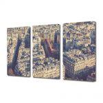 Set Tablouri Muilticanvas 3 Piese Vintage Aspect Retro Paris vazut de deasupra
