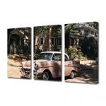 Set Tablouri Muilticanvas 3 Piese Vintage Aspect Retro Masina americana vintage