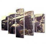 Set Tablouri Muilticanvas 5 Piese Vintage Aspect Retro Masina de epoca in sepia