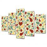 Set Tablouri Muilticanvas 5 Piese Vintage Aspect Retro Abstract pete de culoare