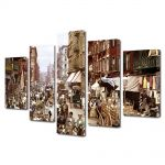 Set Tablouri Muilticanvas 5 Piese Vintage Aspect Retro Orasul vechi New York