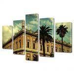 Set Tablouri Muilticanvas 5 Piese Vintage Aspect Retro Arhitectura tropicala