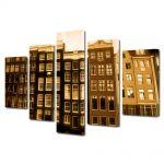 Set Tablouri Muilticanvas 5 Piese Vintage Aspect Retro Case olandeze