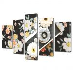 Set Tablouri Muilticanvas 5 Piese Vintage Aspect Retro Camera foto si flori retro