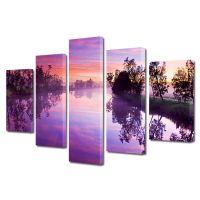 Set Tablouri Canvas 5 Piese Peisaj Lacul violet