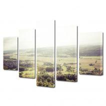 Set Tablouri Muilticanvas 5 Piese Vintage Aspect Retro Peisaj de campie