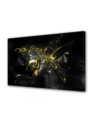 Tablou Canvas Luminos in intuneric VarioView LED Abstract Modern Compozitie cu galben si negru