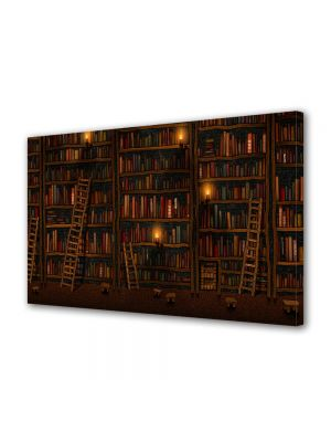 Tablou Canvas Luminos in intuneric VarioView LED Abstract Modern Biblioteca