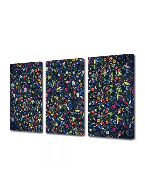Set Tablouri Multicanvas 3 Piese Abstract Decorativ Culori
