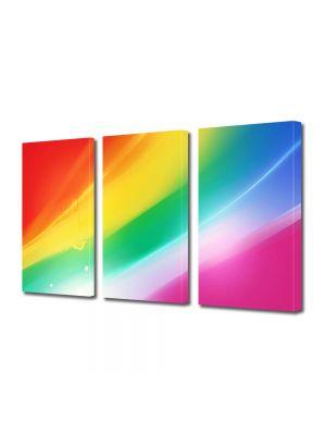 Set Tablouri Multicanvas 3 Piese Abstract Decorativ Culorile curcubeului