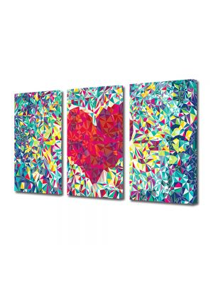 Set Tablouri Multicanvas 3 Piese Abstract Decorativ Inima