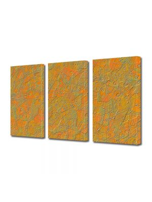 Set Tablouri Multicanvas 3 Piese Abstract Decorativ Textura portocalie