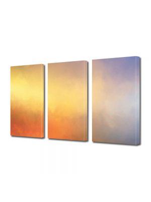 Set Tablouri Multicanvas 3 Piese Abstract Decorativ Apus in cer