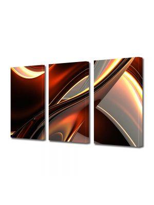 Set Tablouri Multicanvas 3 Piese Abstract Decorativ Inele de plastic