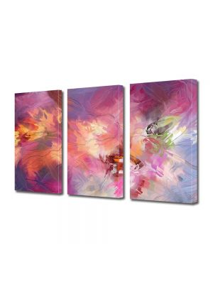 Set Tablouri Multicanvas 3 Piese Abstract Decorativ Roz