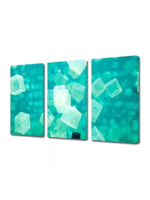 Set Tablouri Multicanvas 3 Piese Abstract Decorativ Cuburi turcuaz
