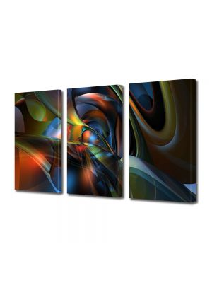 Set Tablouri Multicanvas 3 Piese Abstract Decorativ Sinusoidale