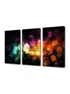 Set Tablouri Multicanvas 3 Piese Abstract Decorativ Lumini in ploaie