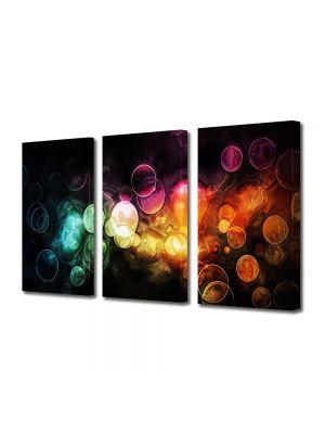Set Tablouri Multicanvas 3 Piese Abstract Decorativ Lumini in ploaie